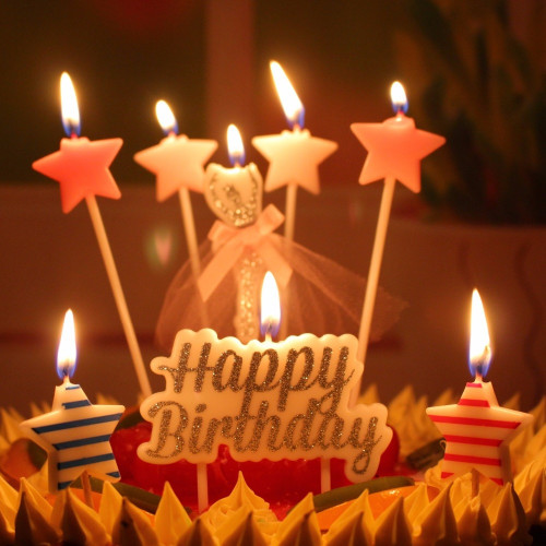Birthday Cake With Candles  Glittering Cake Candle Gold Topper Wedding Party Cake