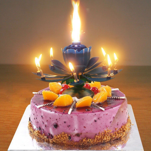 Birthday Cake With Candles  Birthday Candle Lotus Flower Blossom Musical Party Cake
