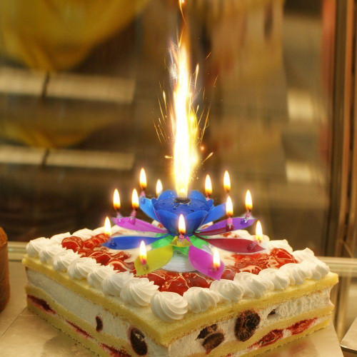 Birthday Cake With Candles  Music Singing Candle Spin Lotus Happy Birthday Wedding