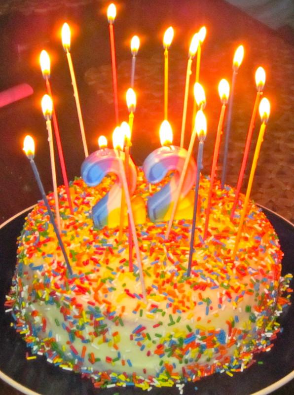 Birthday Cake With Candles  Haute Heirloom Rainbow Velvet Cake