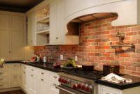Brick Kitchen Backsplash Unique Brick Backsplash White Cabinet Wood Floor Dark Not
