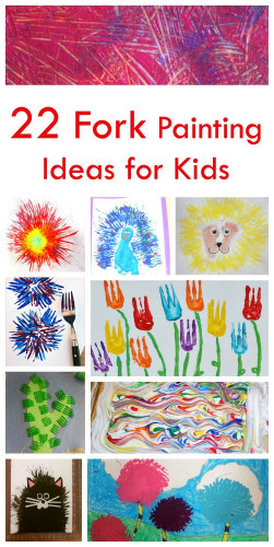 Canvas Paintings Ideas For Kids  22 Fork Painting Ideas for Kids Emma Owl