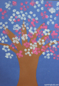 Canvas Paintings Ideas For Kids  Cherry blossom tree craft for preschoolers sparklingbuds
