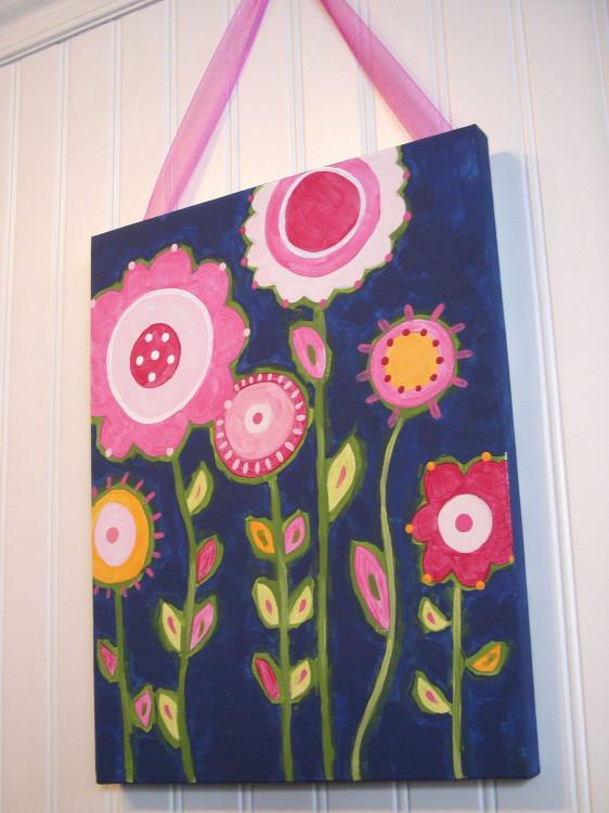 Canvas Paintings Ideas For Kids  Flower garden canvas painting 11 x 14 Original handmade