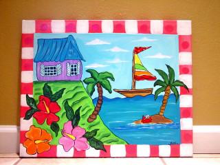 Canvas Paintings Ideas For Kids  Tropical Beach ocean sea painting kids wall art canvas nur