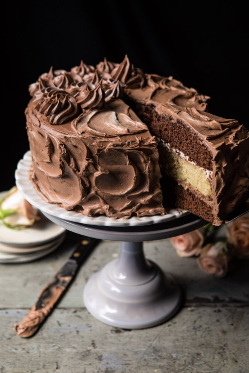 Chocolate Birthday Cake  Better To her Chocolate Vanilla Birthday Cake Half