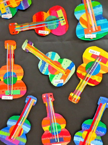 Craft Activities For Kids  These collage guitars are adorable Perfect art project
