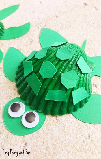 Craft For Kids  Seashell Turtle Craft Seashell Craft Ideas Easy Peasy