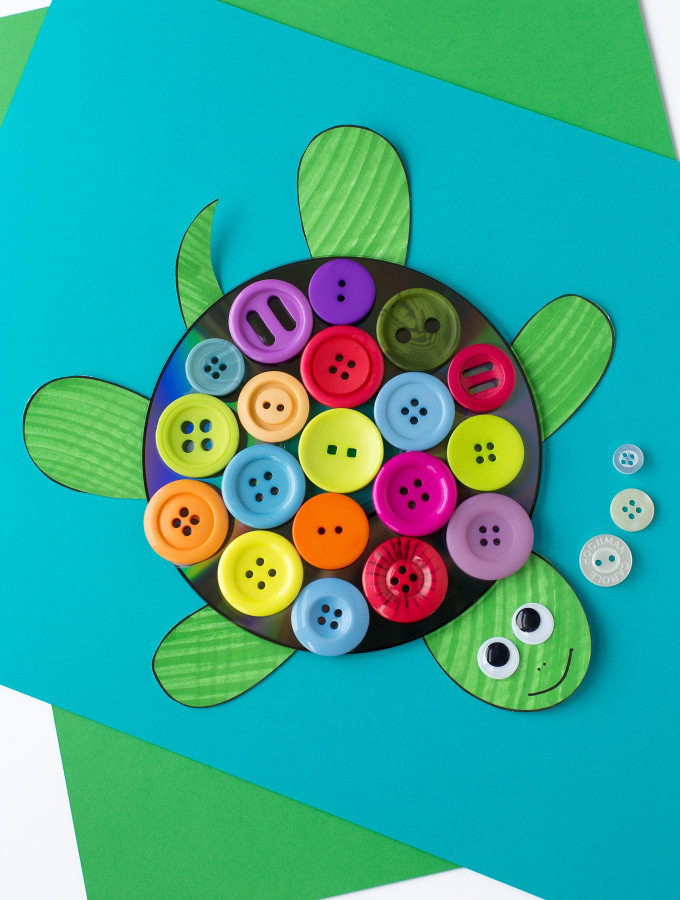 Craft For Kids  Colorful CD & Button Turtle Craft for Kids