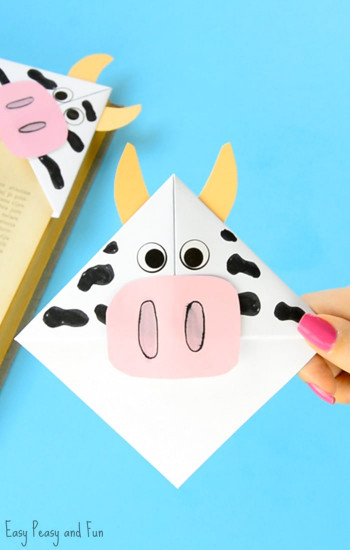 Craft For Kids  Cow Corner Bookmarks Easy Peasy and Fun