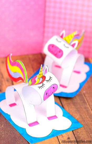 Craft For Kids  3D Construction Paper Unicorn Craft Printable Template