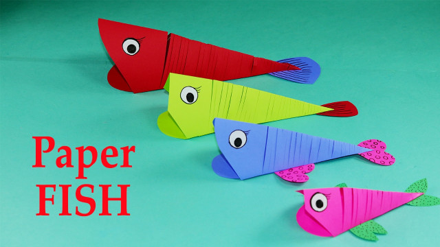 Craft Ideas For Kids With Paper  Paper Crafts for Kids Easy Paper Fish Crafts DIY