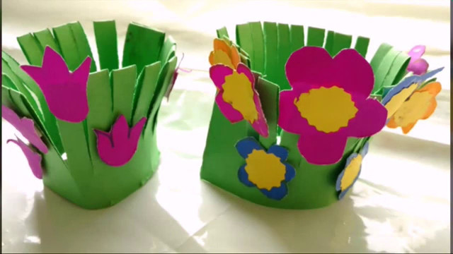 Craft Ideas For Kids With Paper  Easy Paper Craft Flower Garden Making For Kids
