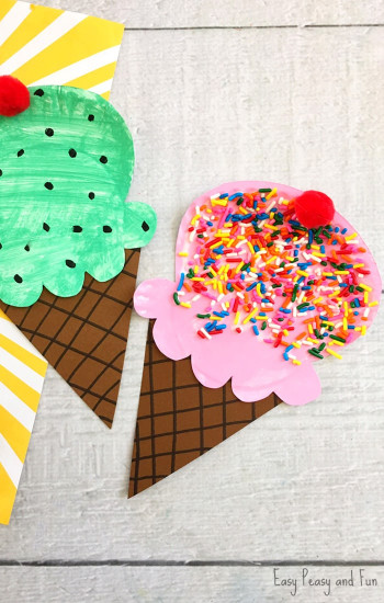 Craft Ideas For Kids With Paper  Paper Plate Ice Cream Craft Summer Craft Idea for Kids