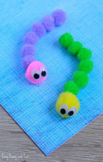 Crafts For Kids  Pom Pom Caterpillar Craft Easy Peasy and Fun