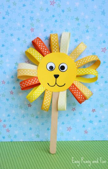 Crafts For Kids  Ribbon Lion Puppet Craft Lion Crafts for Kids Easy