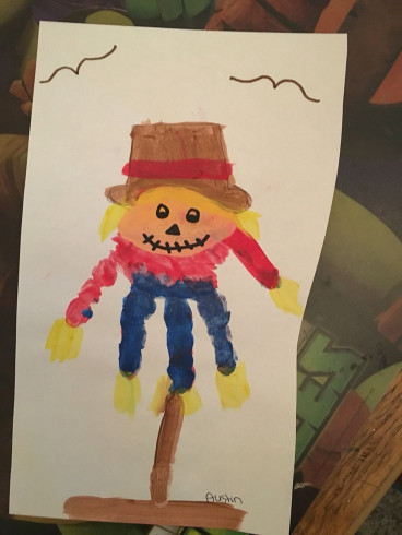 Crafts With Kids  Scarecrow handprint