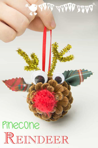 DIY Christmas Crafts For Kids  Pinecone Reindeer Homemade Ornaments Kids Craft Room