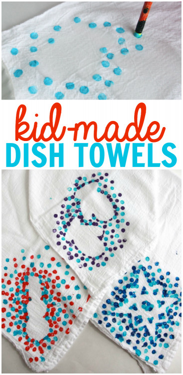 DIY Christmas Gift For Kids  Kid Made Dish Towels