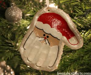 DIY Christmas Ornaments For Kids  Hand Print Santa Keepsake Ornament