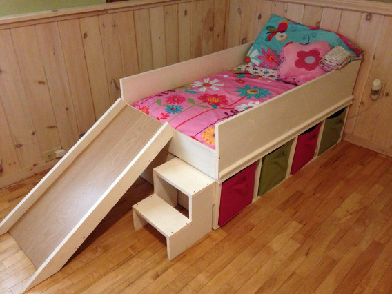 DIY Kids Bed  DIY toddler bed with slide and toy storage