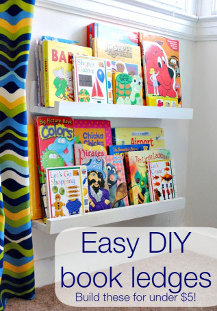 DIY Kids Book Shelf  DIY book shelf ledges Easy inexpensive and AWESOME