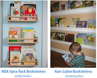 DIY Kids Bookshelves  DIY Rain Gutter Bookshelves for Kids