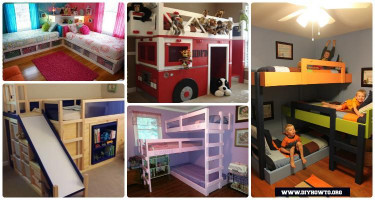 DIY Kids Loft Bed  DIY Kids Bunk Bed Free Plans [Picture Instructions]