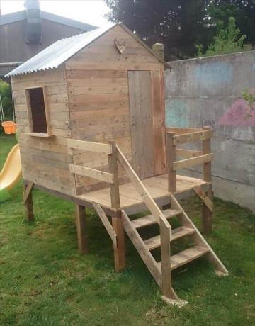 DIY Kids Playhouse  Pallet Playhouse for Kids Friendly Backyard