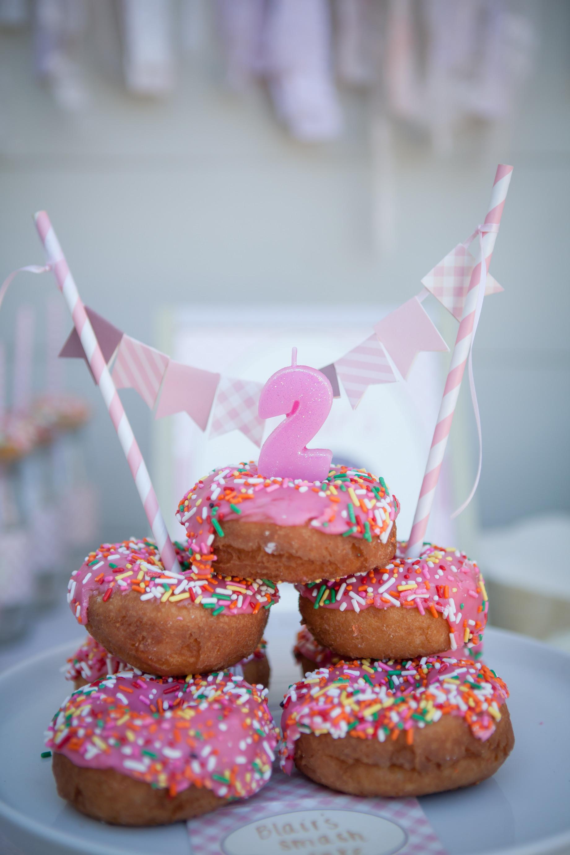 Donut Birthday Cake  Blair s Donut 2nd Birthday Party Project Nursery