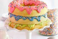 Donut Birthday Cake Fresh Triple Stack Donut Cake