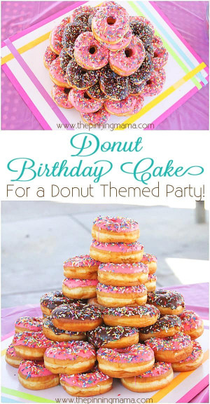 Donut Birthday Cake  How To Make A Donut Cake for a Donut Themed Birthday Party