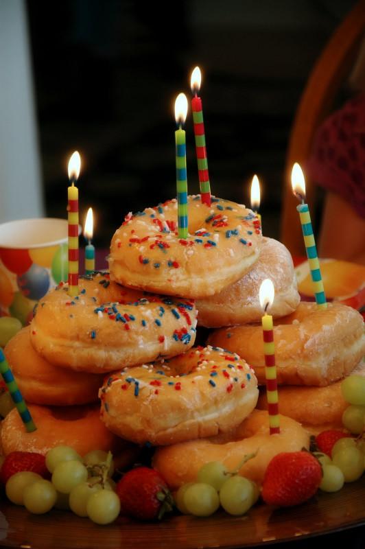 Donut Birthday Cake  nannygoat Doughnut Cake