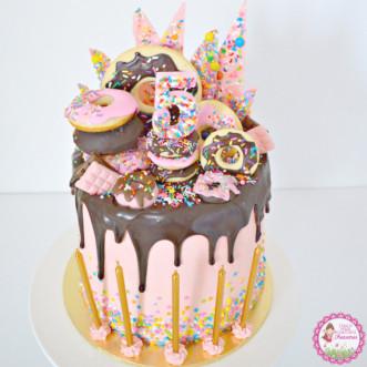 Donut Birthday Cake  Donut themed Birthday Cake – Little Miss Charlie s Treasures