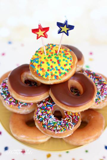 Donut Birthday Cake  Krispy Kreme Donut Birthday Cake Happiness is Homemade