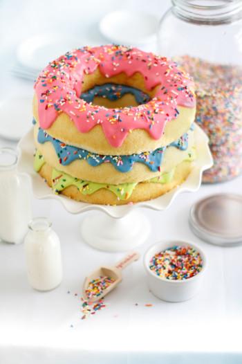 Donut Birthday Cake  Triple Stack Donut Cake