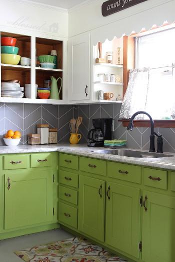 Easy Kitchen Backsplash  DIY Herringbone Tile Backsplash