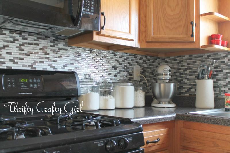 Easy Kitchen Backsplash  Thrifty Crafty Girl Easy Kitchen Backsplash with Smart Tiles