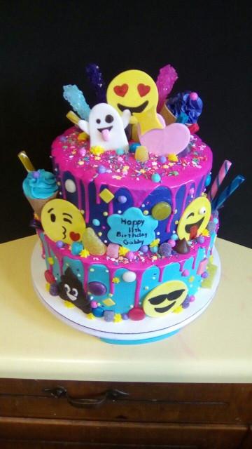 Emoji Birthday Cake  Emoji and candy cake Birthday cake in 2019