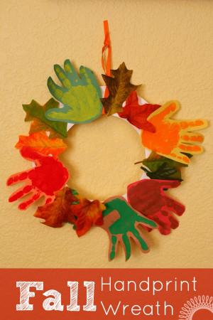 Fall Craft Idea For Kids  Fall Handprint Wreath