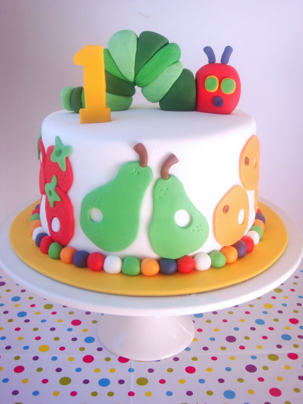First Birthday Cake  butter hearts sugar Very Hungry Caterpillar Cake