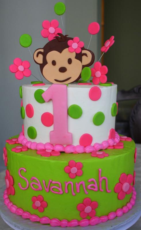 First Birthday Cake  Claudine Pink Mod Monkey 1st Birthday