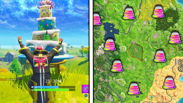 """Fortnite Birthday Cake Location  """"Dance in front of different Birthday Cakes"""" Locations"""