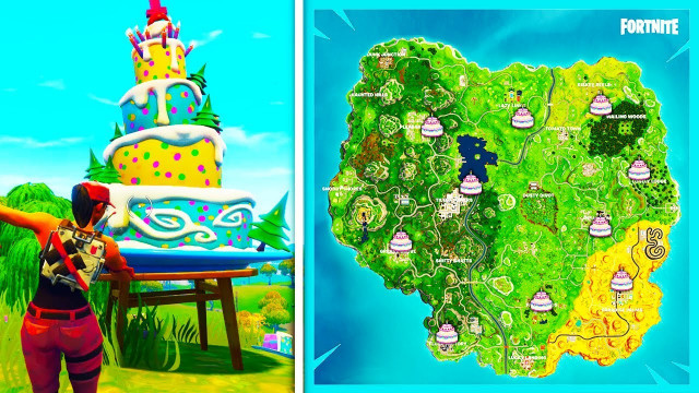 """Fortnite Birthday Cake Location  """"Dance in Front of Differnet Birthday Cakes"""" ALL LOCATIONS"""