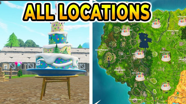 """Fortnite Birthday Cake Location  """"Dance In Front Different Birthday Cakes"""" All 10"""