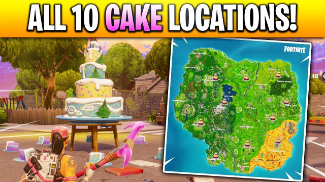 """Fortnite Birthday Cake Location  """"Dance in Front of different Birthday Cakes"""" LOCATIONS in"""
