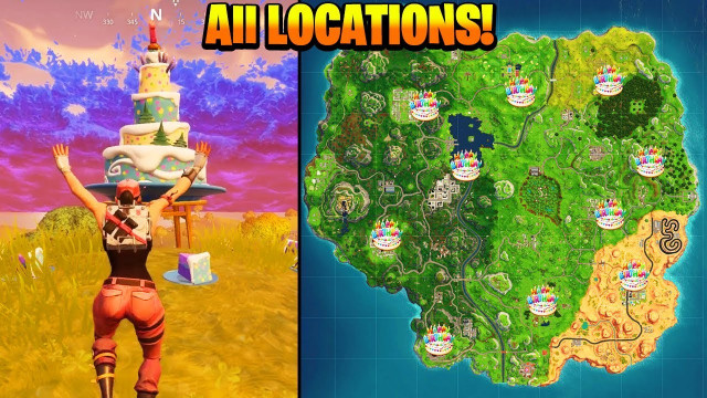 """Fortnite Birthday Cake Location  """"Dance in front of different Birthday Cakes"""" ALL LOCATIONS"""