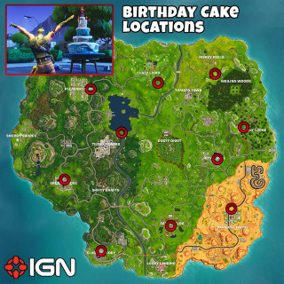 Fortnite Birthday Cake Map  Fortnite Birthday Challenges Dance in Front of Different