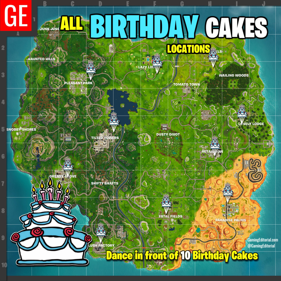 Fortnite Birthday Cake Map  Week 3 Challenges Cheat Sheet & How To Guide for Fortnite