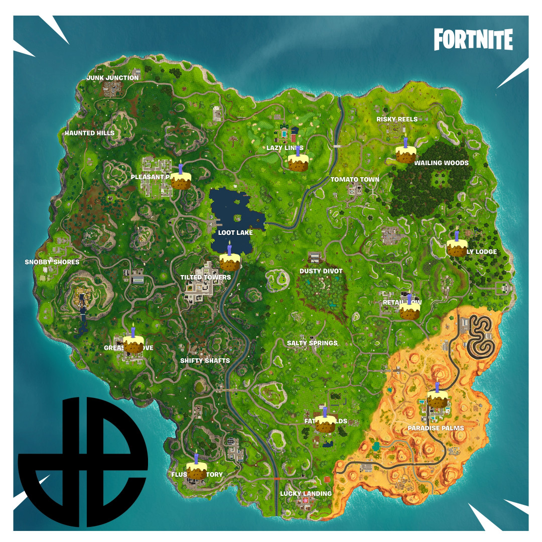 Fortnite Birthday Cake Map  All Known Birthday Cake Locations for the Fortnite Battle